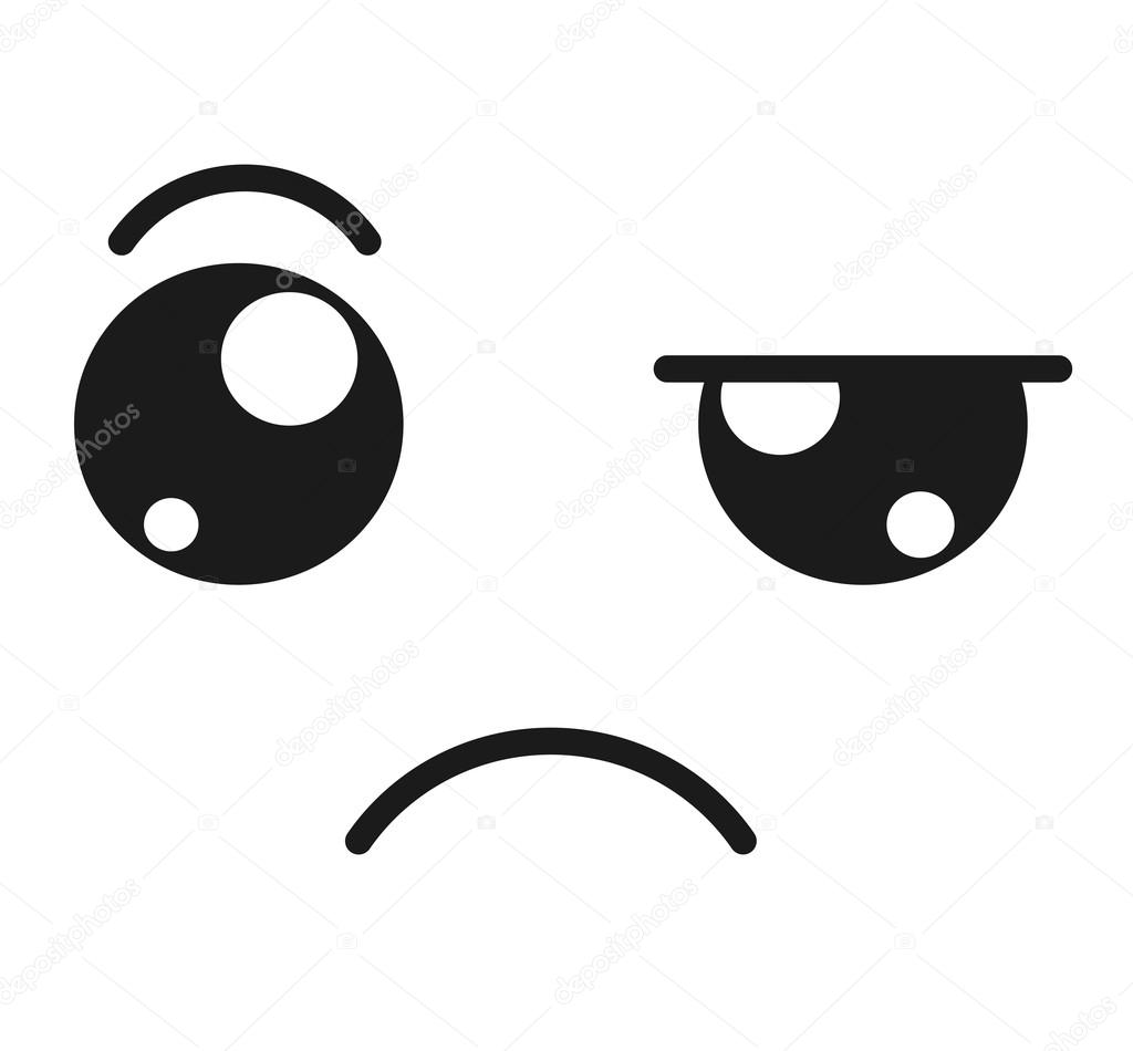 Sad Face Emoticon Isolated Icon Design Stock Vector Yupiramos