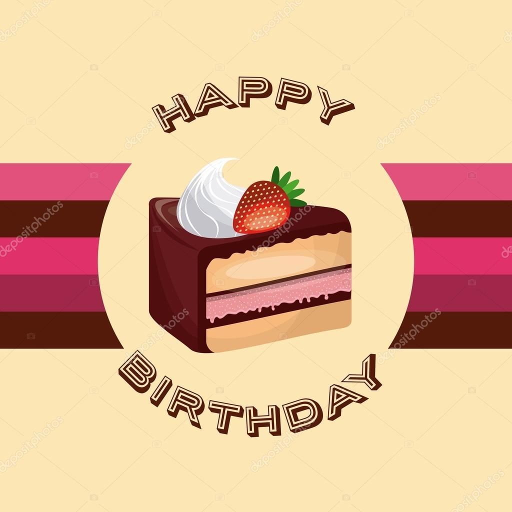 Glucklich Geburtstag Und Dessert Konzept Durch Kuchen Uber Siegel Stempel Symbol Dargestellt Farbenfrohe Flache Illustration Vektor Von Yupiramos