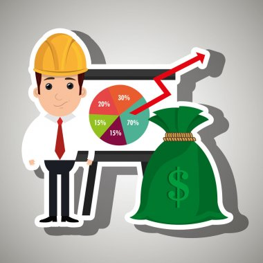 man and statistics isolated icon design