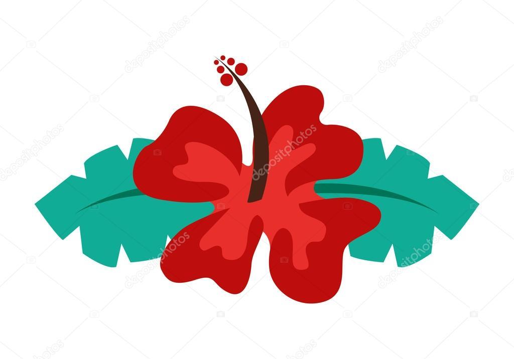 Fleur d hibiscus isol dessin ic ne image vectorielle - Fleur d hibiscus dessin ...
