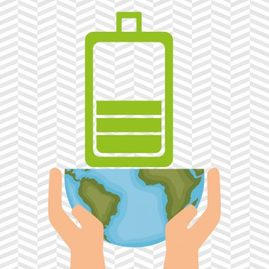 planet and battery isolated icon design