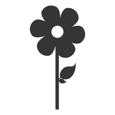 Flower with leaf flat icon