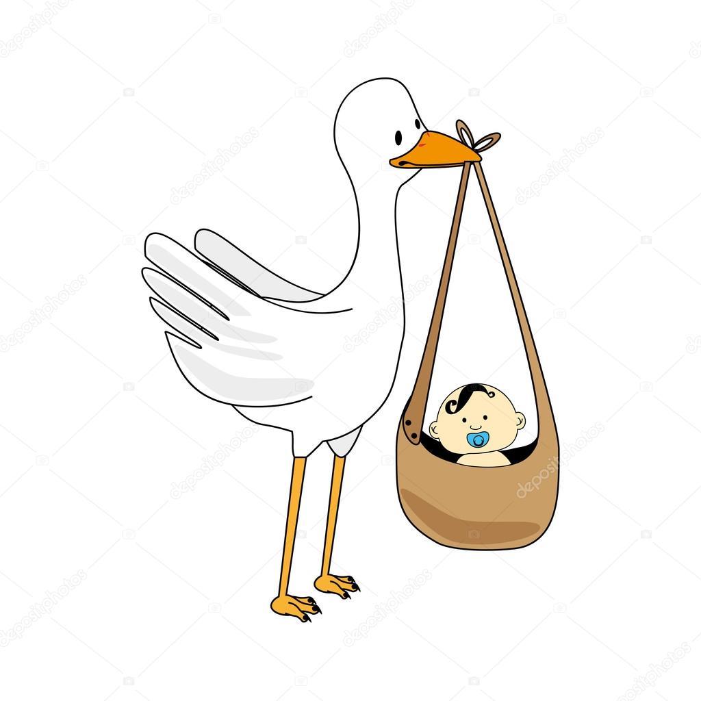 Dibujo Ciguea Con Bebe. Cigea Con Un Beb U Vector De Stock