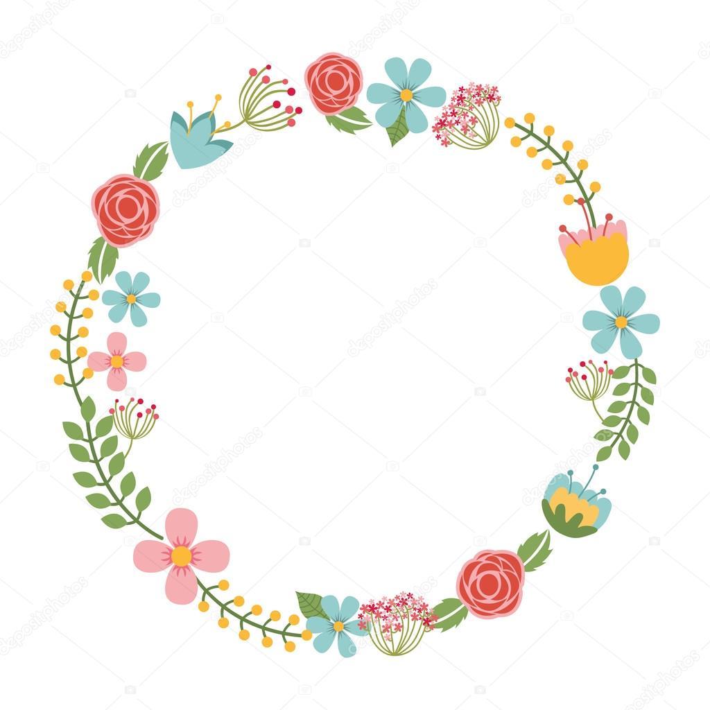 Couronne de fleurs isolées dessin icône \u2014 Image vectorielle