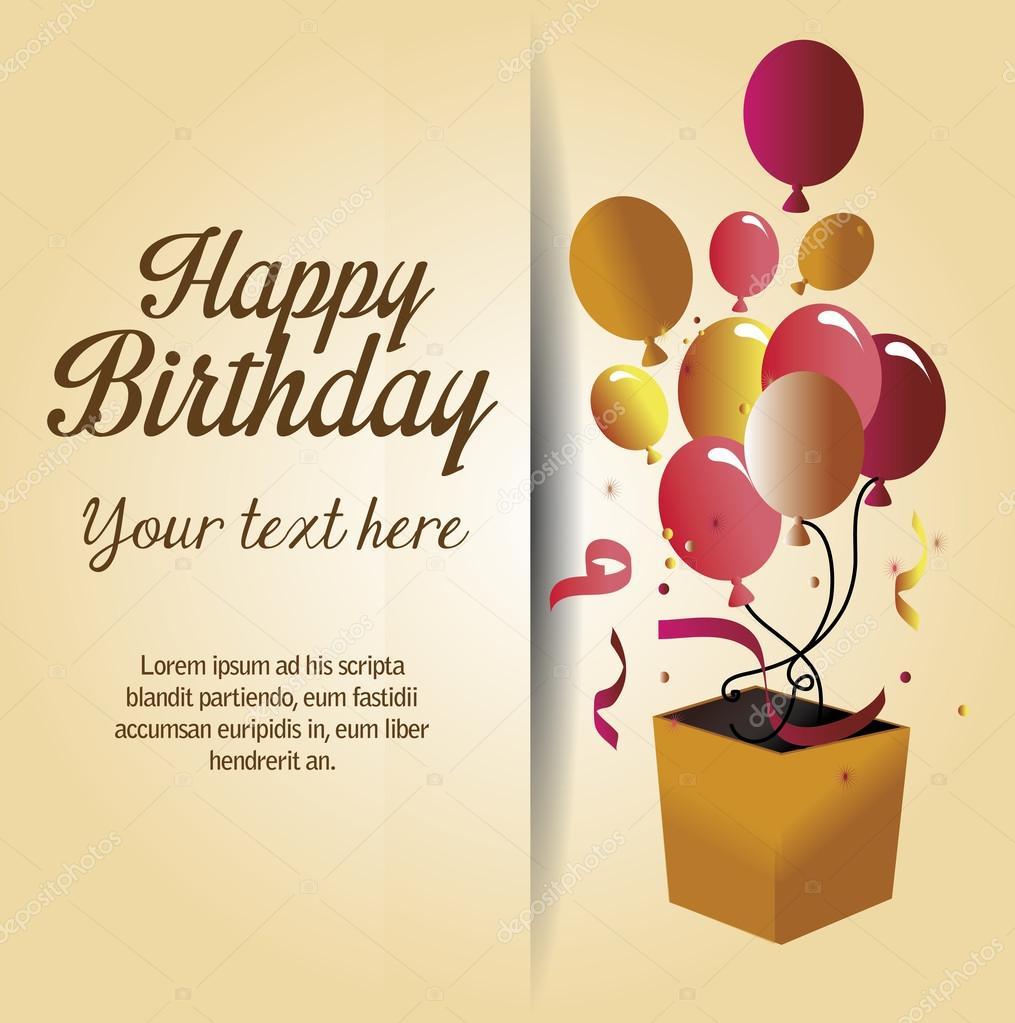 Gelukkige Verjaardag Verrassing Doos Met Ballonnen Geisoleerde
