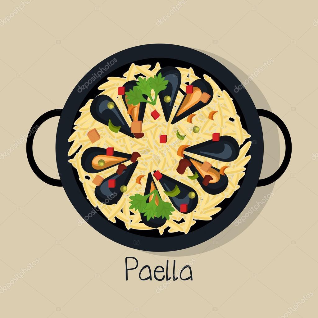 Dessin Paella paella espagnole isolé dessin icône — image vectorielle yupiramos
