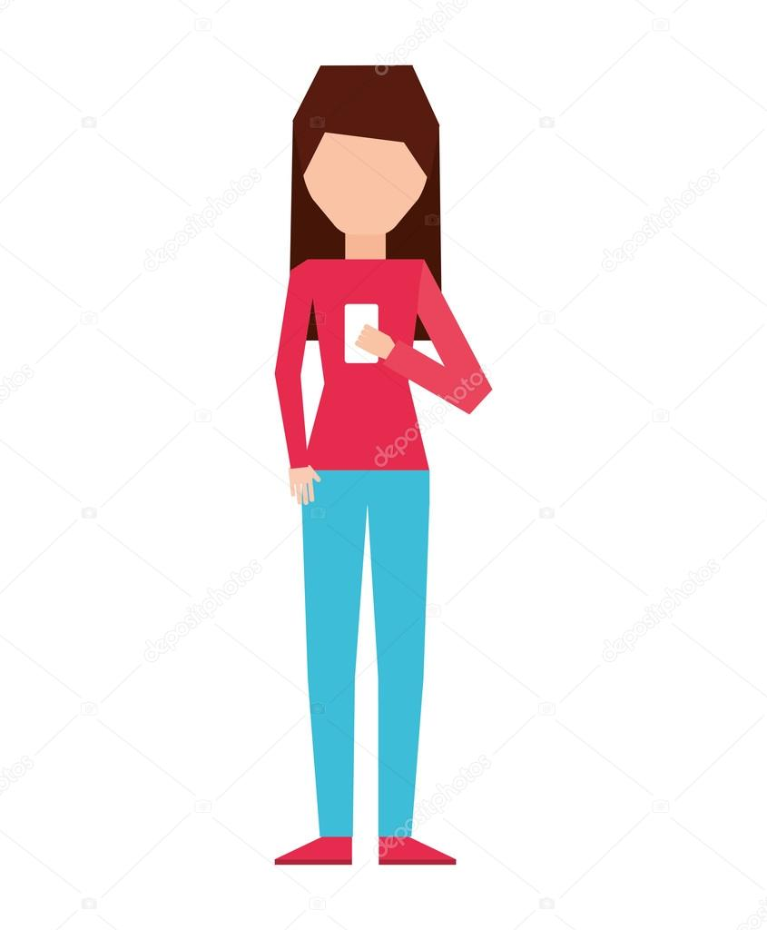woman female young using smartphone icon � stock vector