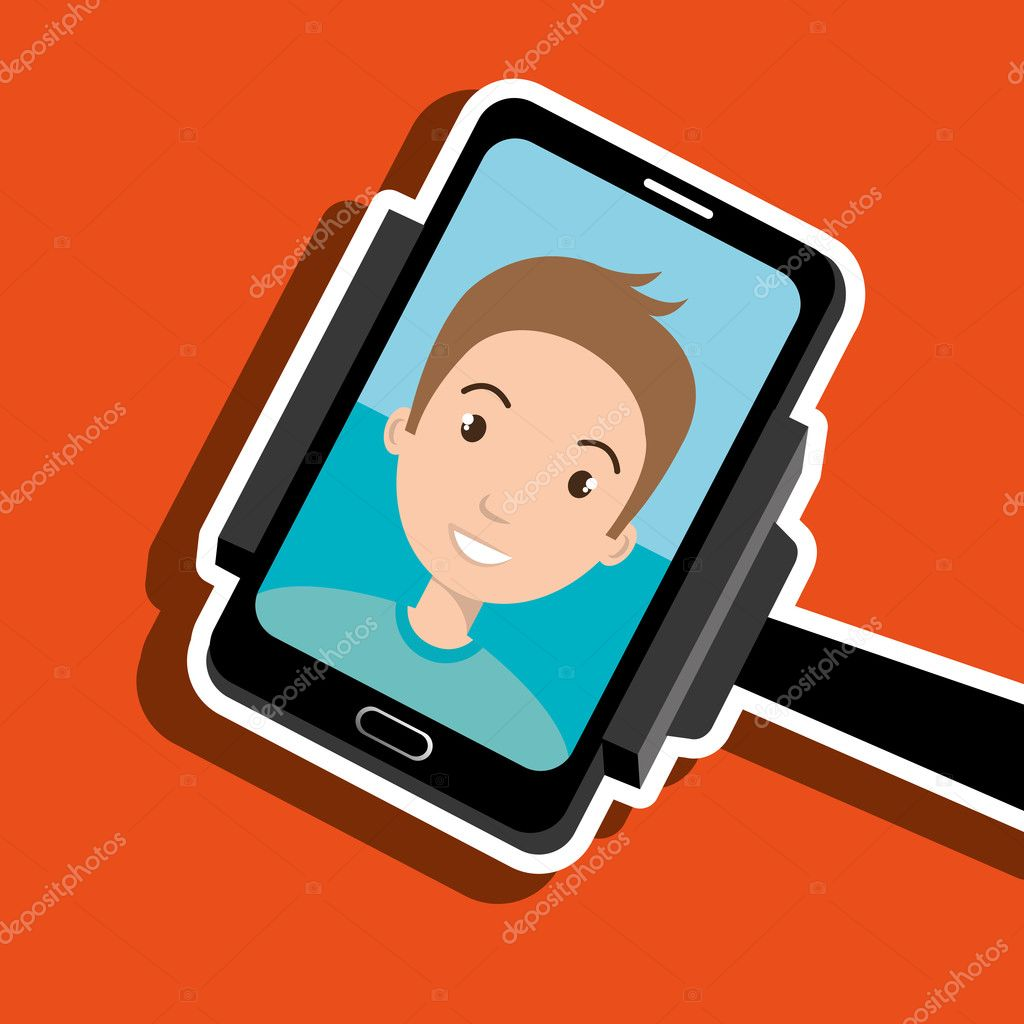 man on the screeen of a smarthone vector design stock vector