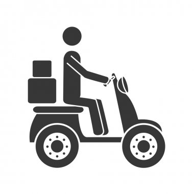 courier motorcycle box icon vector illustration