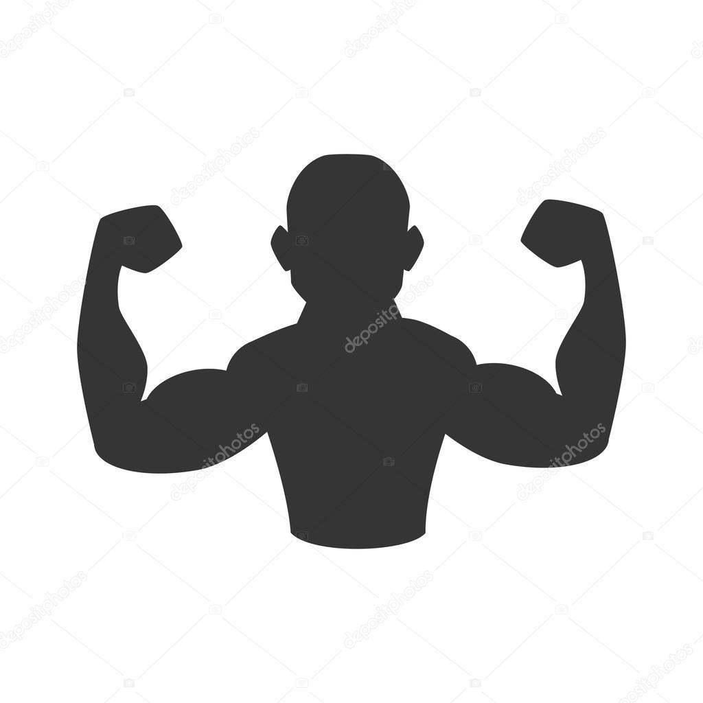 gráfico de músculo brazo hombre gimnasio icono vectorial — Vector de ...