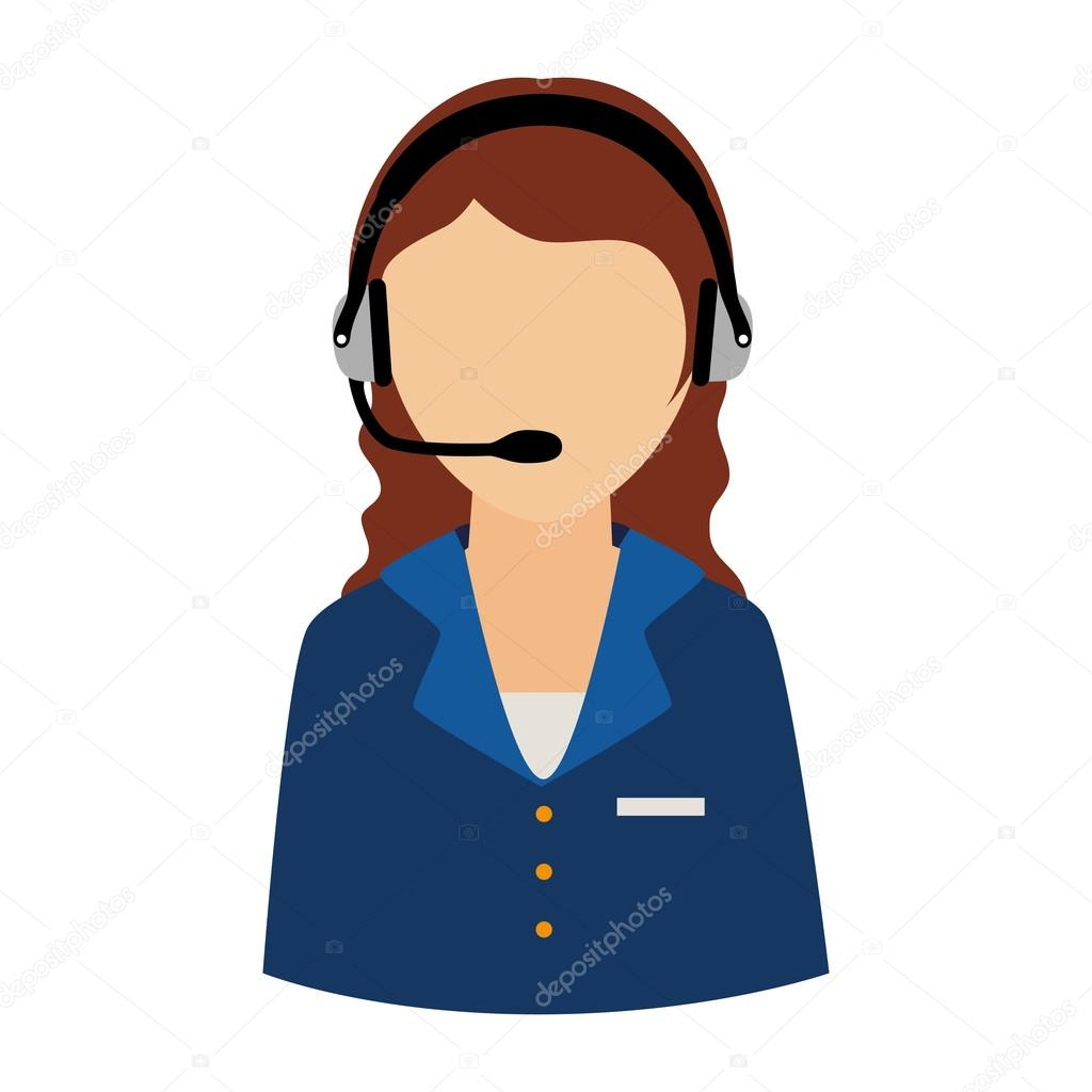 woman support operator headset service assistant icon vector gra