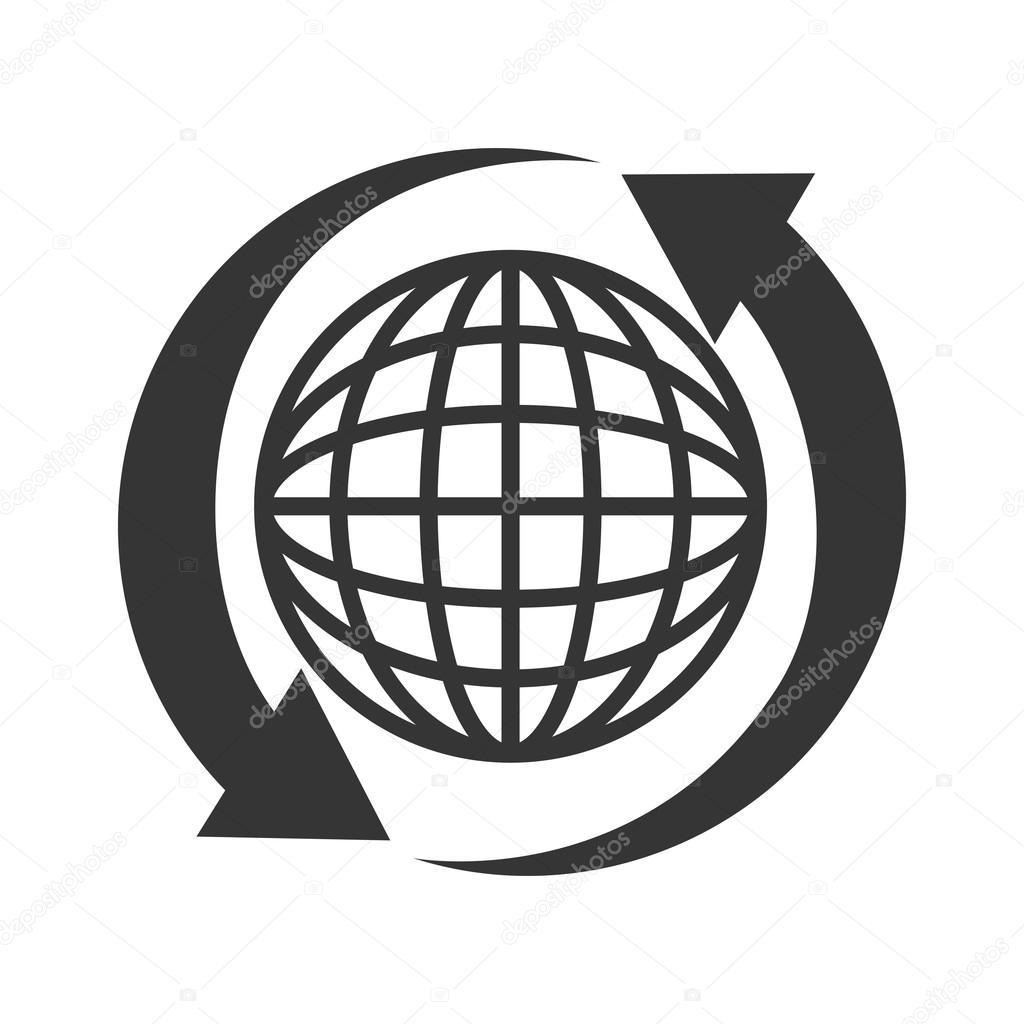 Globus Pfeil Verbindung Symbol Vektorgrafik — Stockvektor ...