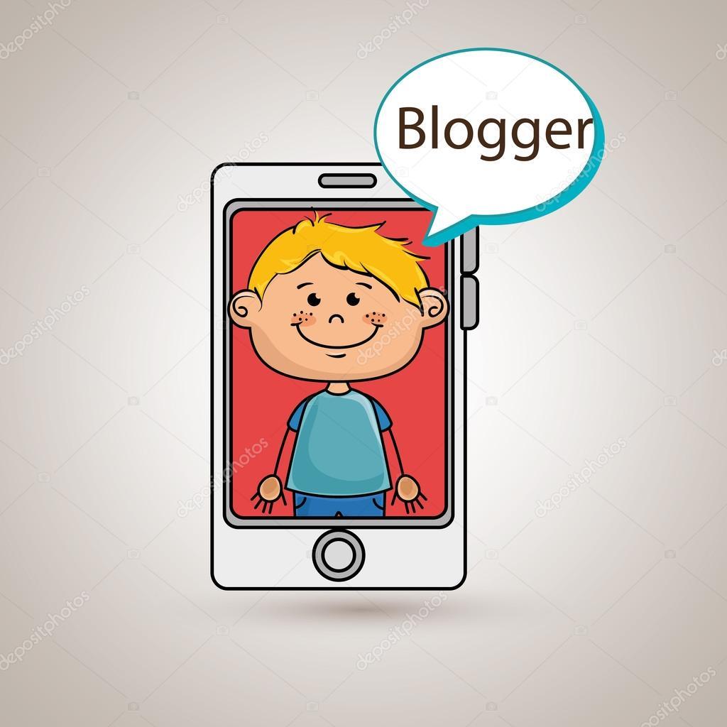 Çocuk cep telefonu blogger web — Stok Vektör © yupiramos ...