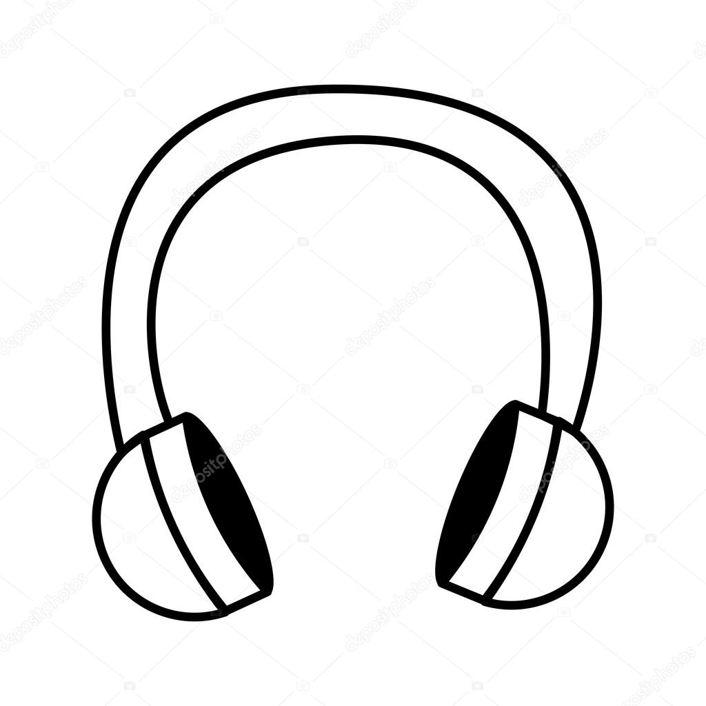 Kopfhörer-Draht-Musik-Ikone — Stockvektor © yupiramos #119796688