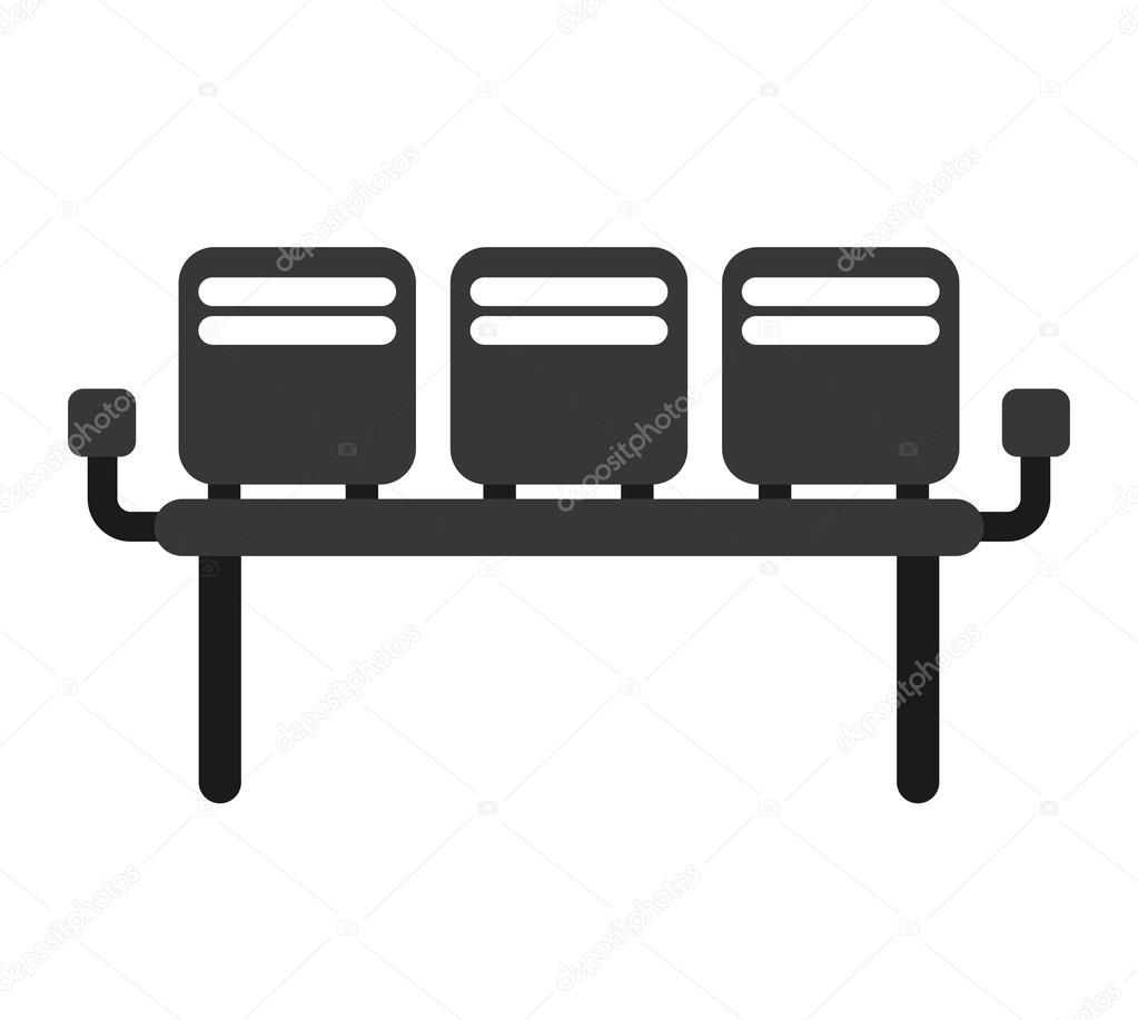 waiting room chairs isolated icon u2014 stock vector