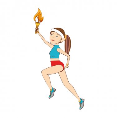 torch olimpic flame girl