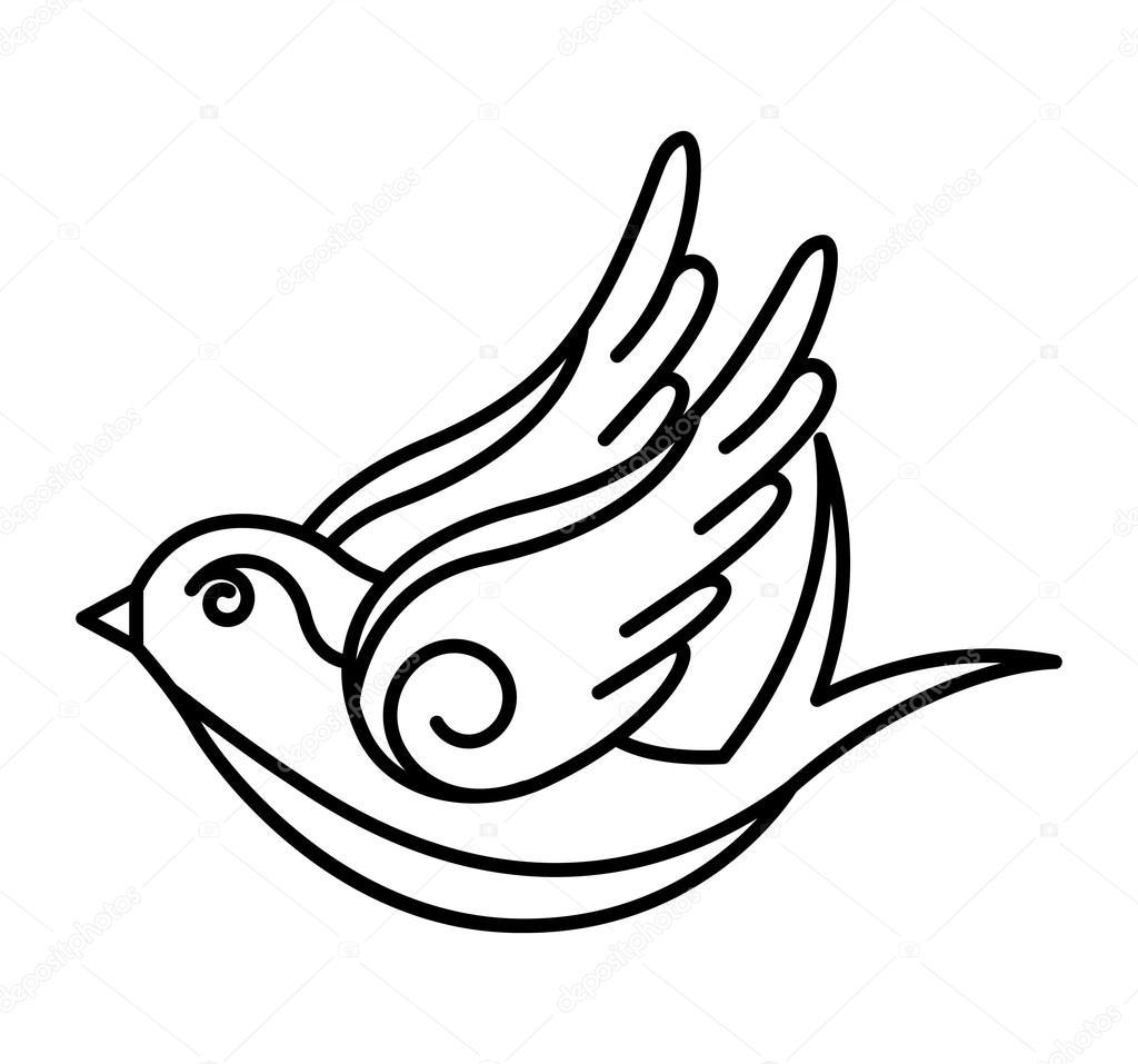 Bird Drawing Tattoo Bird Drawing Tattoo Style Isolated