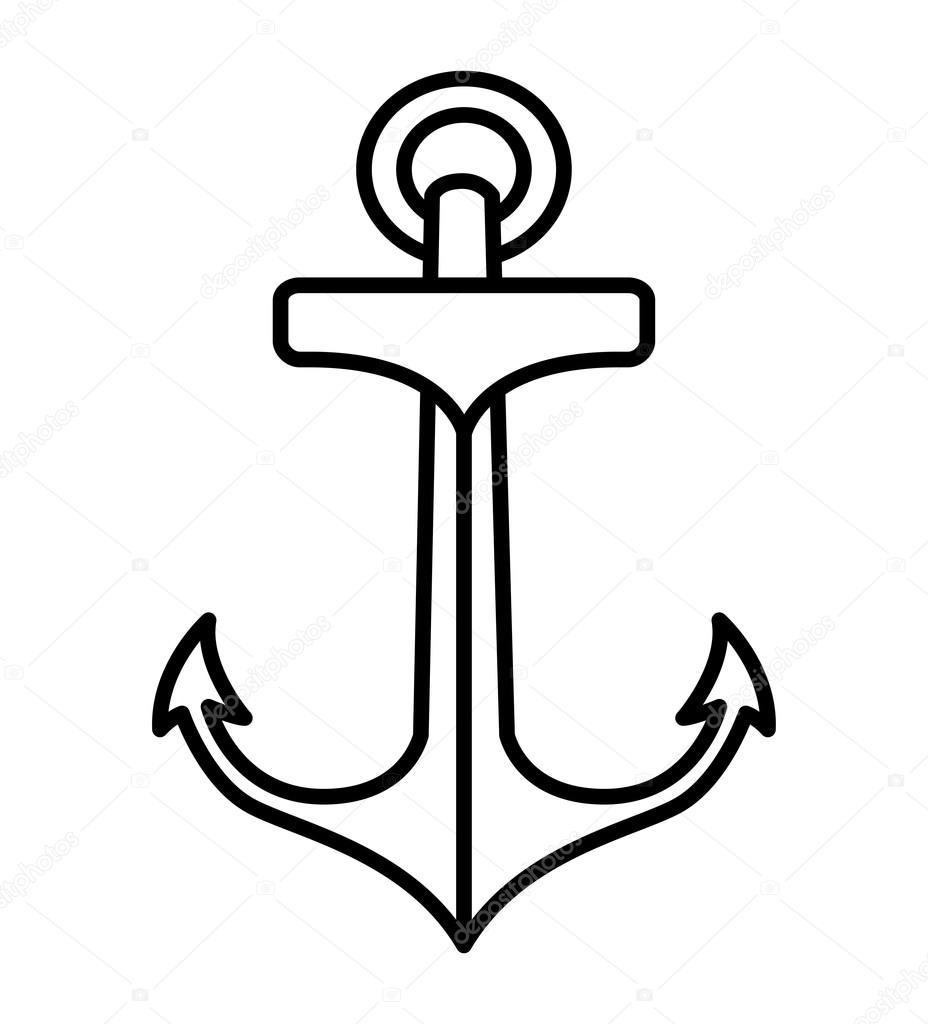 anker tattoo geïsoleerde stijlicoon tekening — stockvector
