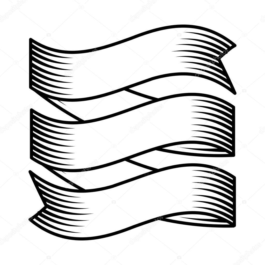 Dessin Ruban ruban de dessin icône isolé de style tatouage — image vectorielle