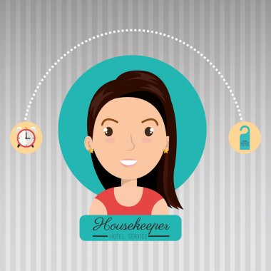 housekeeper woman service icon