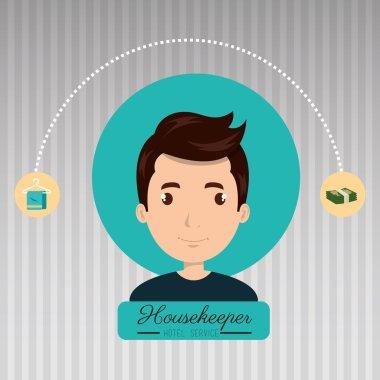 housekeeper man service icon