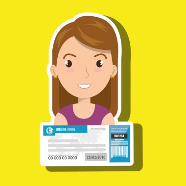 Woman ticket travel icon