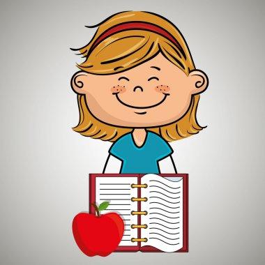 Cartoon girl notebook icon vector illustration design eps 10 stock vector