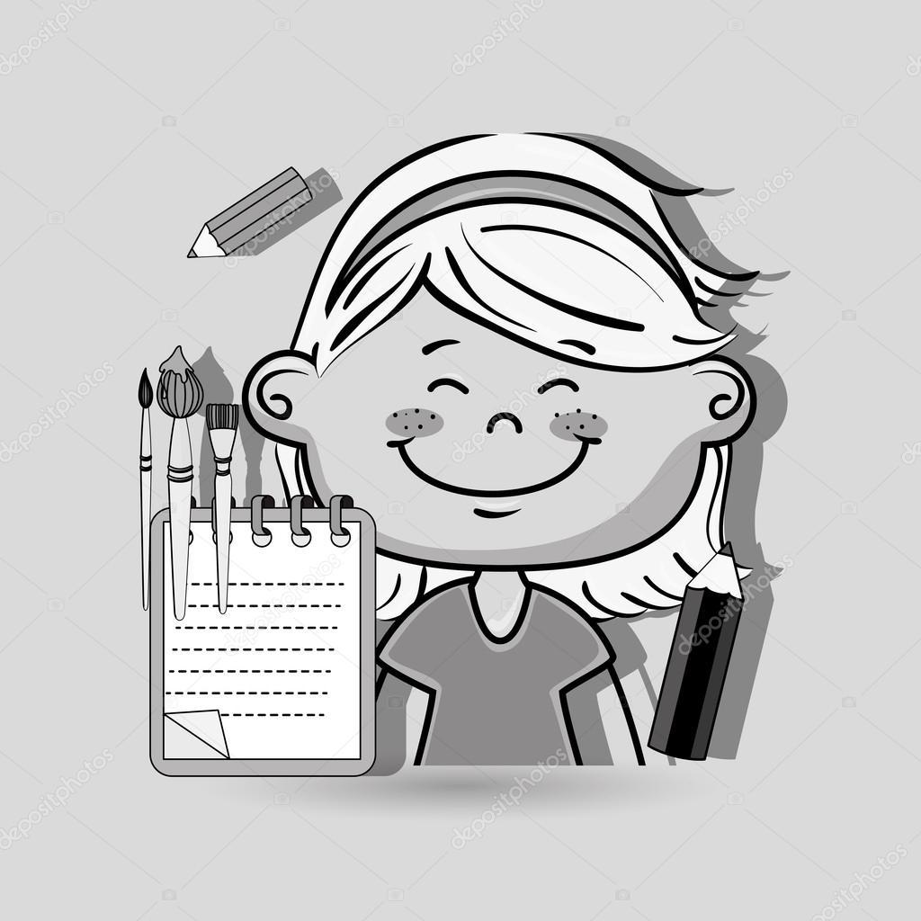 Caritas De Niños Pensando Para Colorear Cuaderno De Niño