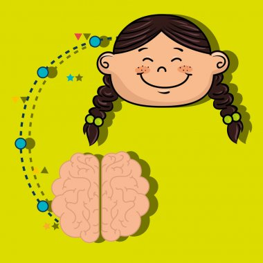 Girl cartoon brain idea vector illustration design stock vector