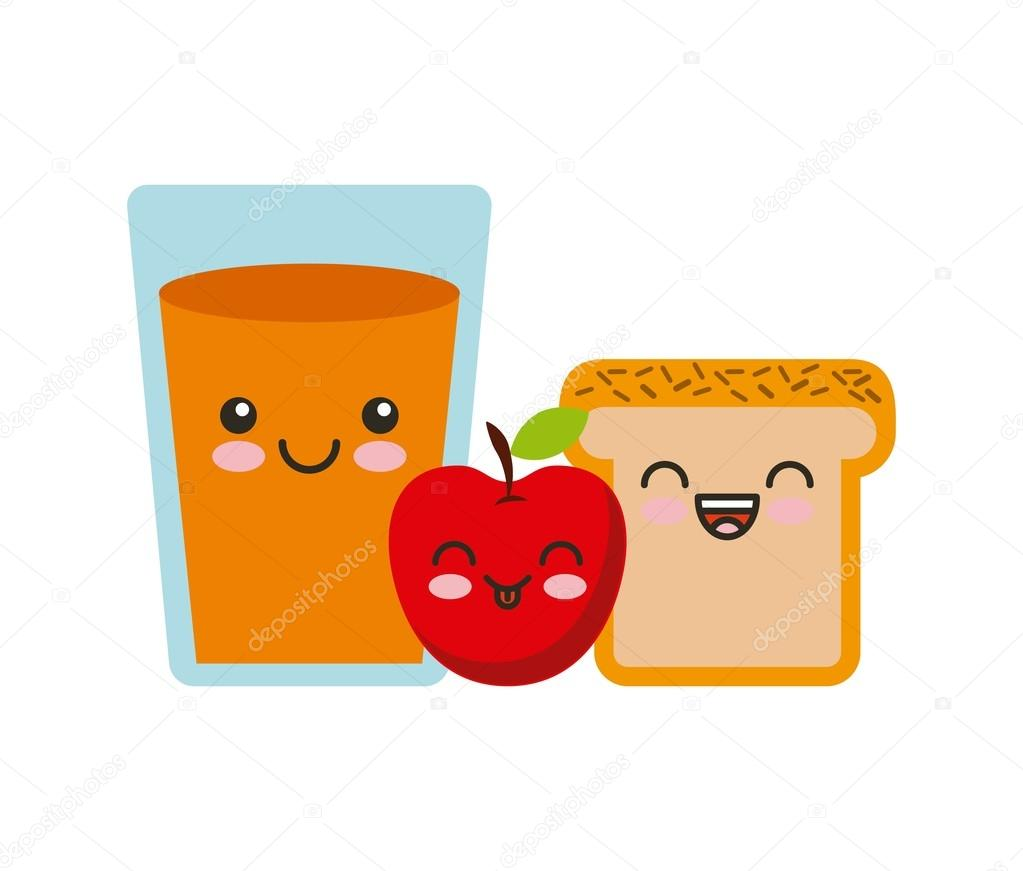 Vecteur drôle dessin animé fruits kawaii — Image ...