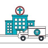 ikona izolované budovy nemocnice