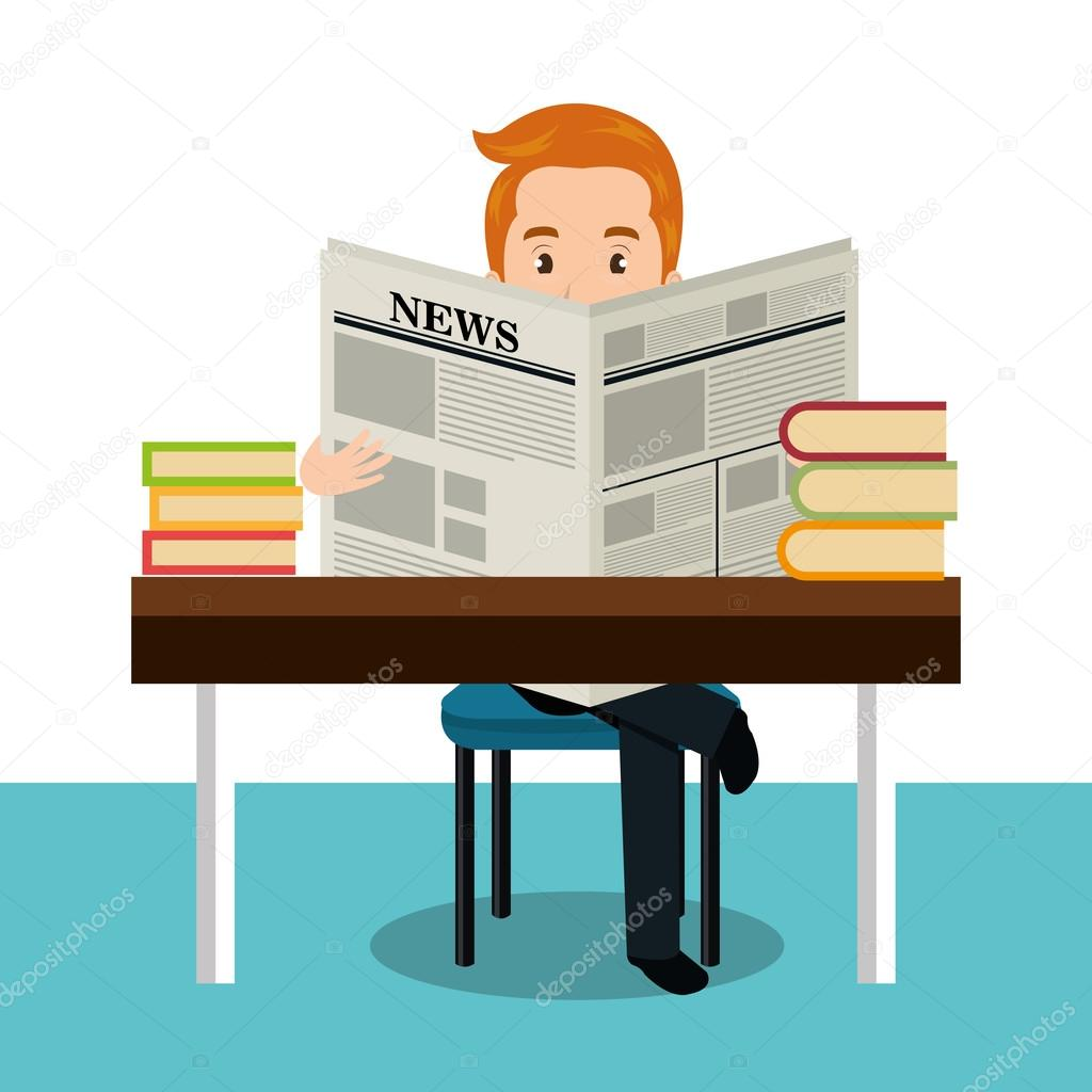 man reading newspaper icon — stock vector © yupiramos #121456376