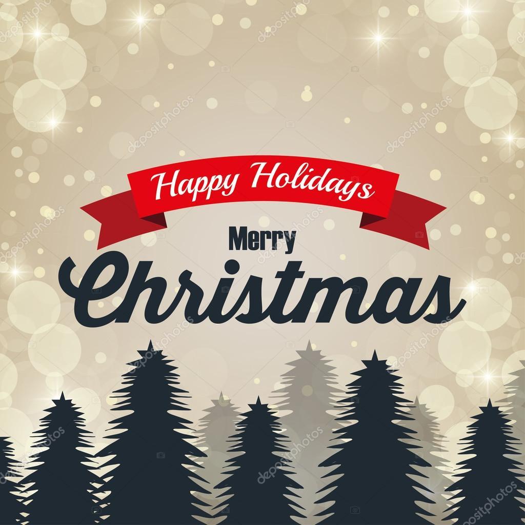 Happy Merry Christmas Card Isolated Stock Vector Yupiramos