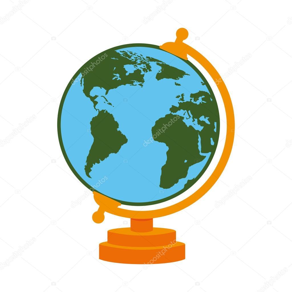 world map school cartoon isolated stock vector