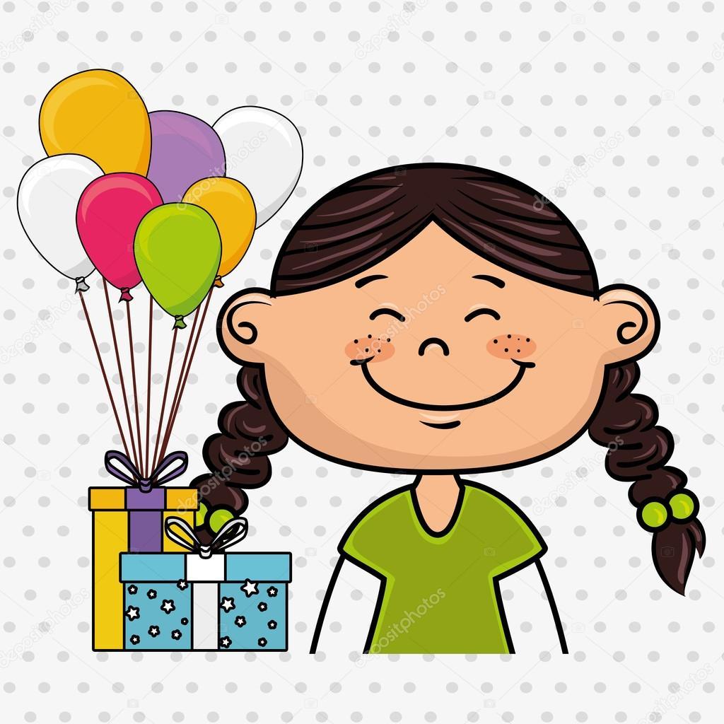 Mädchen-Ballons-Geschenke-party — Stockvektor © yupiramos #122009908