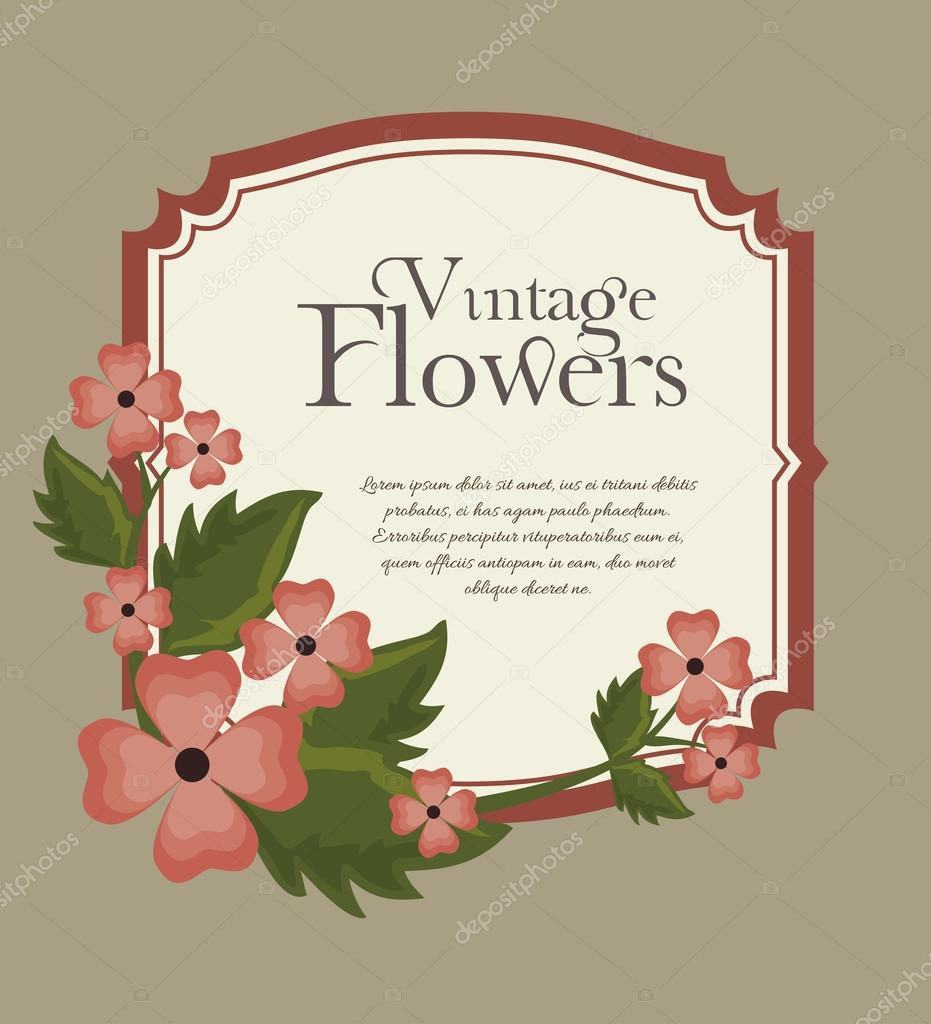 vintage flowers frame decoration