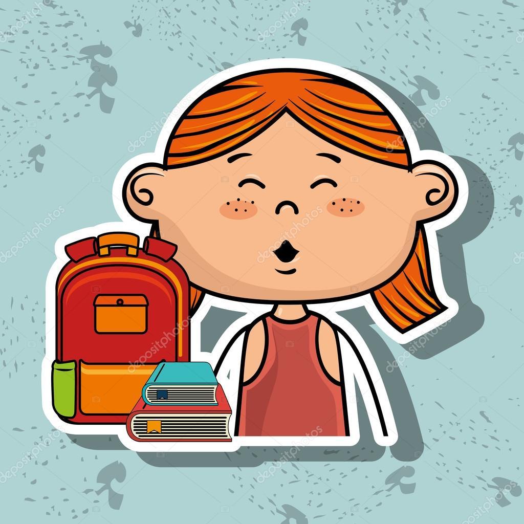 Mädchen Student Tasche Farbbuch — Stockvektor © yupiramos #122115656