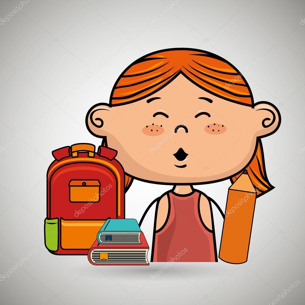 Mädchen Student Tasche Farbbuch — Stockvektor © yupiramos #122228808