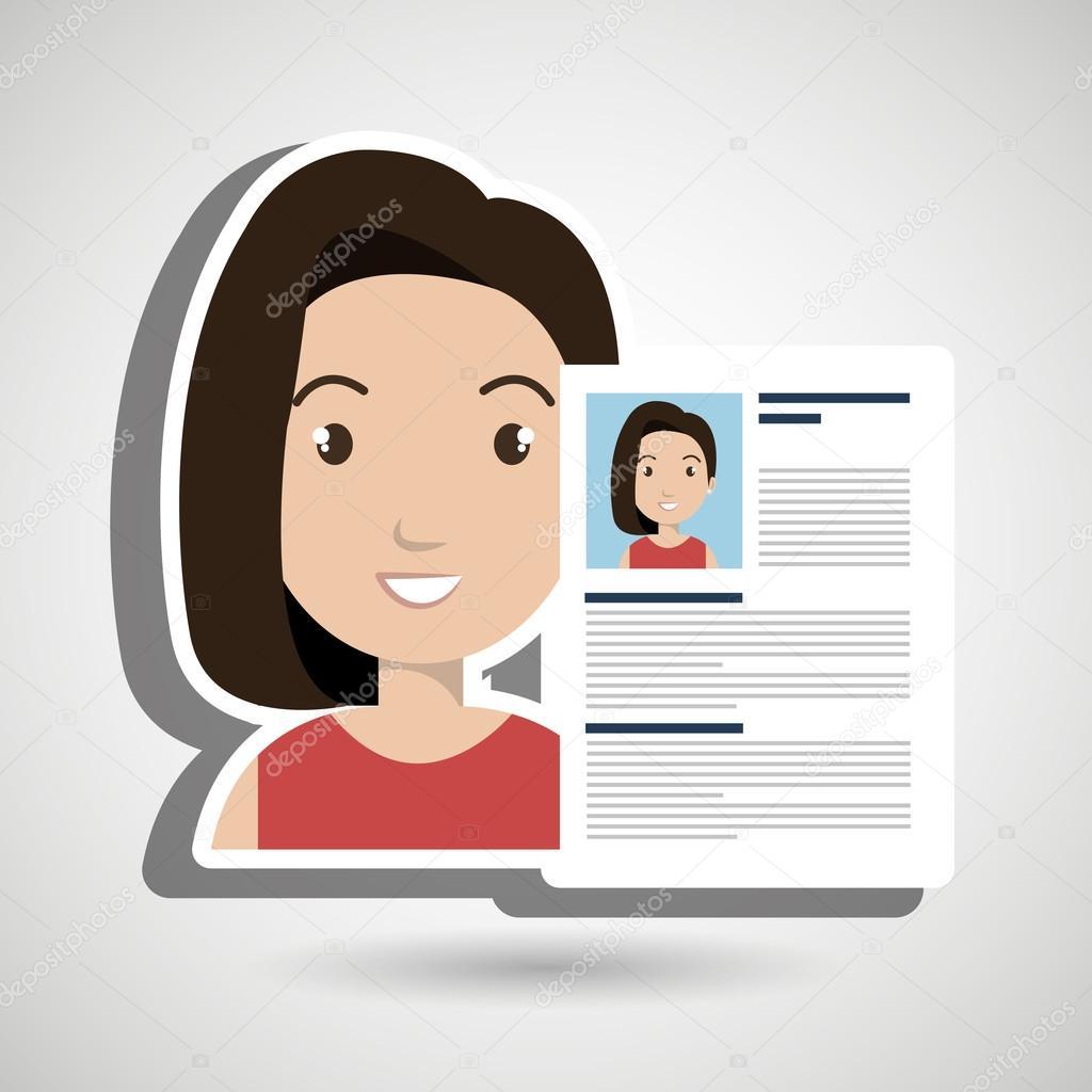 ic u00f4ne de femme de curriculum vitae cv  u2014 image vectorielle