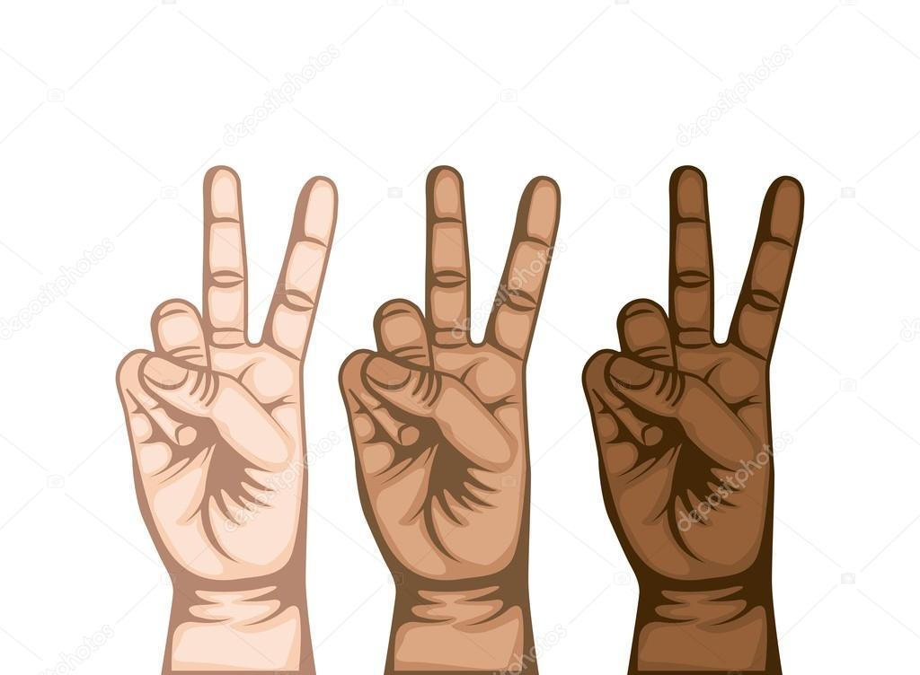 Hand Peace And Love Symbol Stock Vector Yupiramos 122686896
