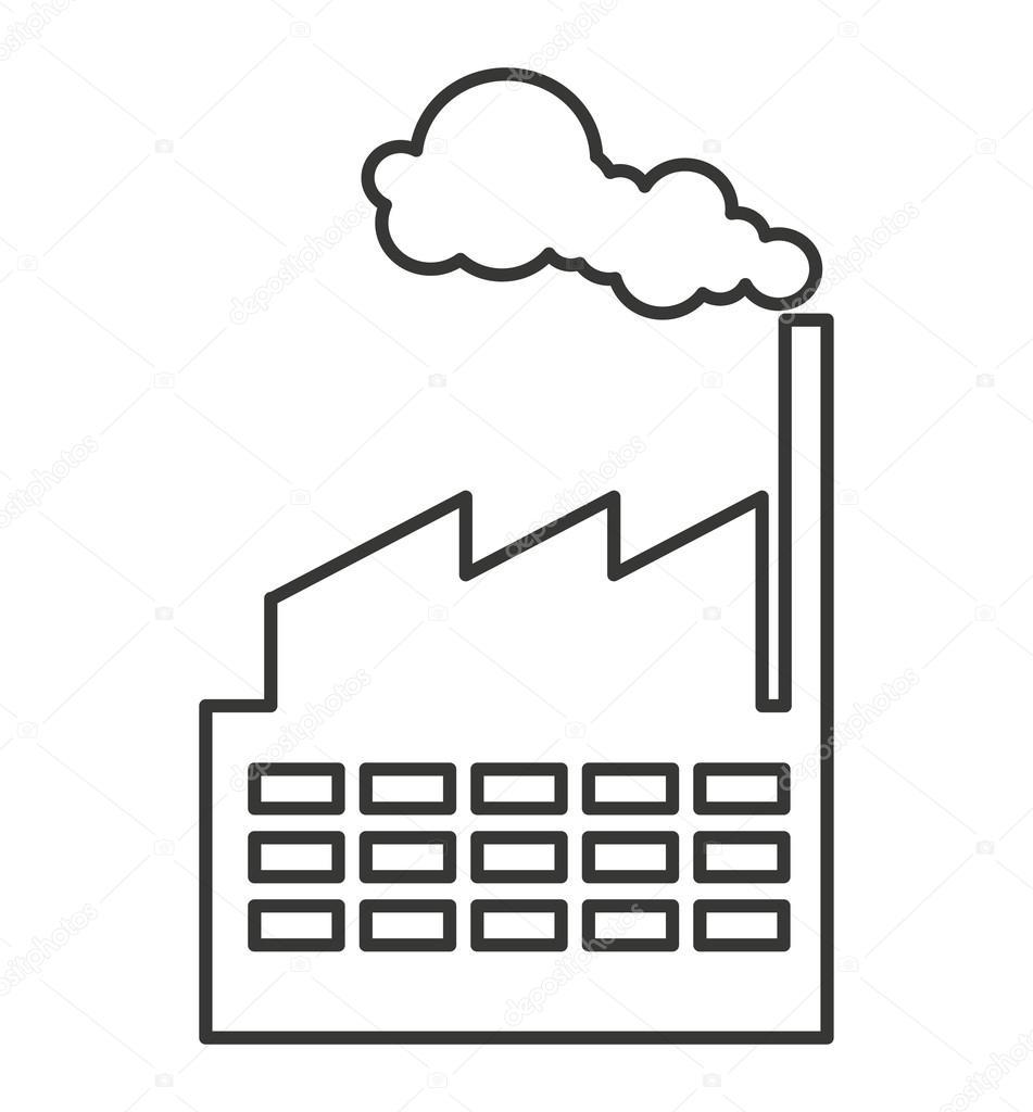 bauen Sie Pflanze Fabrik Verschmutzung Symbol — Stockvektor ...