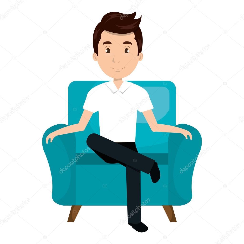 Dibujos Animados De Hombre Avatar Sentado En Sof 225 Vector
