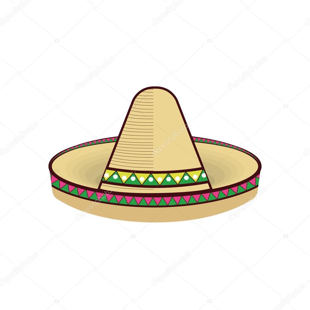 Sombrero mexicano tradicional con la decoración de colores étnicos.  Ilustración de vector — Vector de yupiramos 6f4dc95c65b