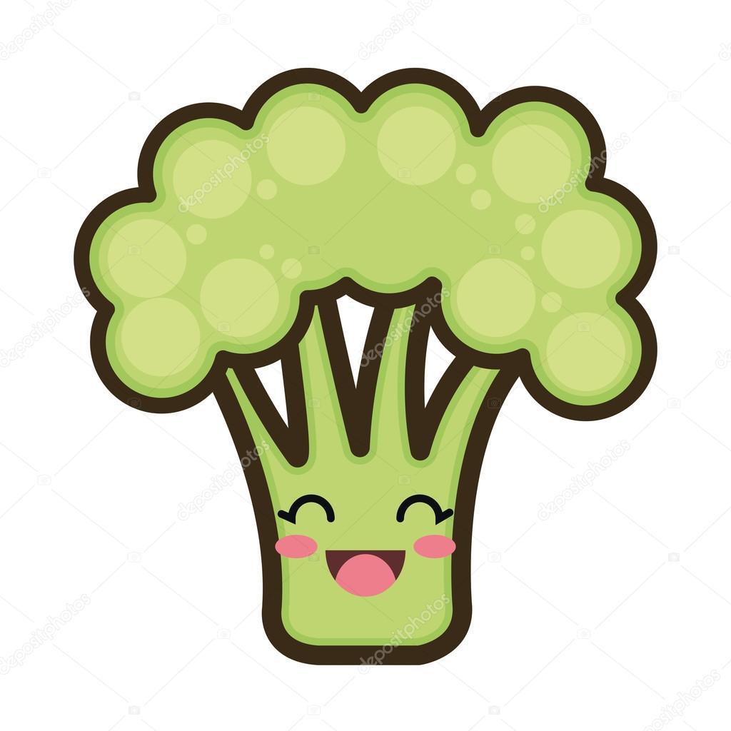 kawaii brócolis de desenhos animados vetores de stock yupiramos
