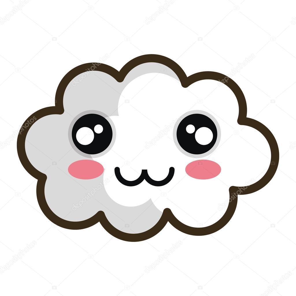 Nuage De Blanc Pour Le Dessin Animé Kawaii Image Vectorielle