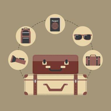 travel equipment set icons