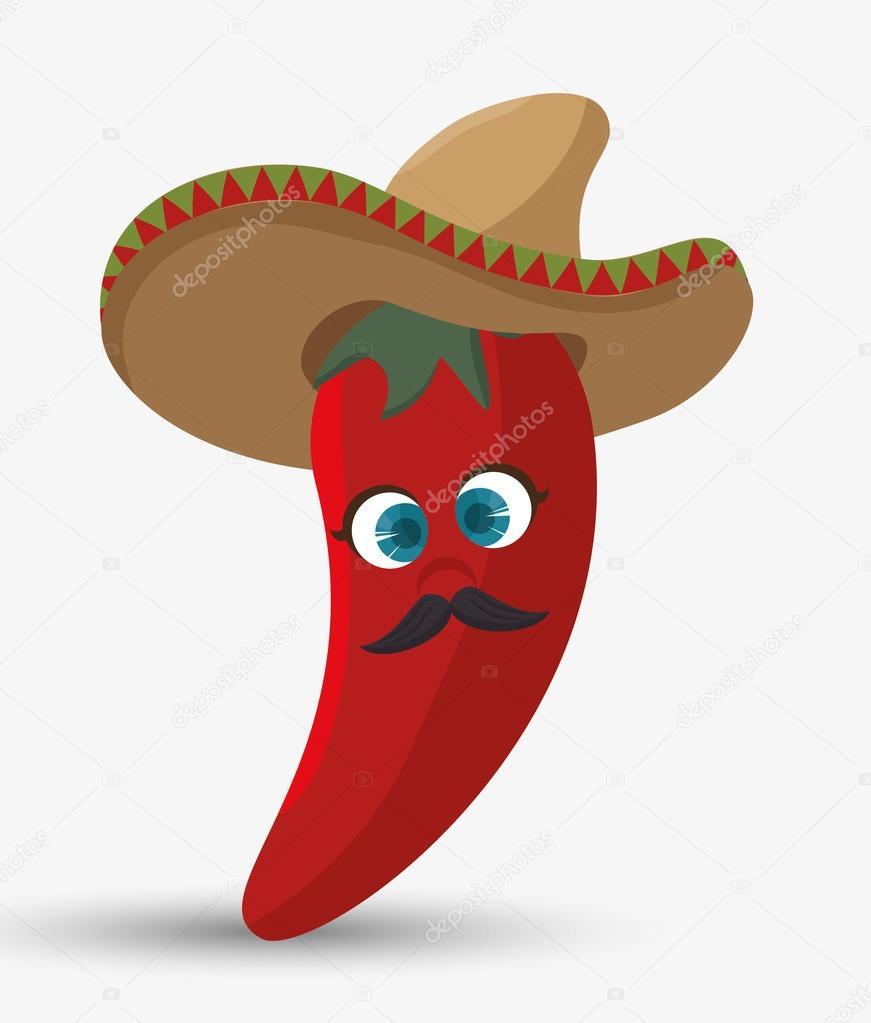 Diseño de la historieta rojo guindilla sombrero mexicano aislado — Vector  de stock c5995b31cd0