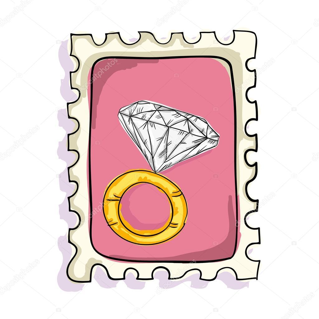 engangement ring postage stamp — Stock Vector © yupiramos #123744398