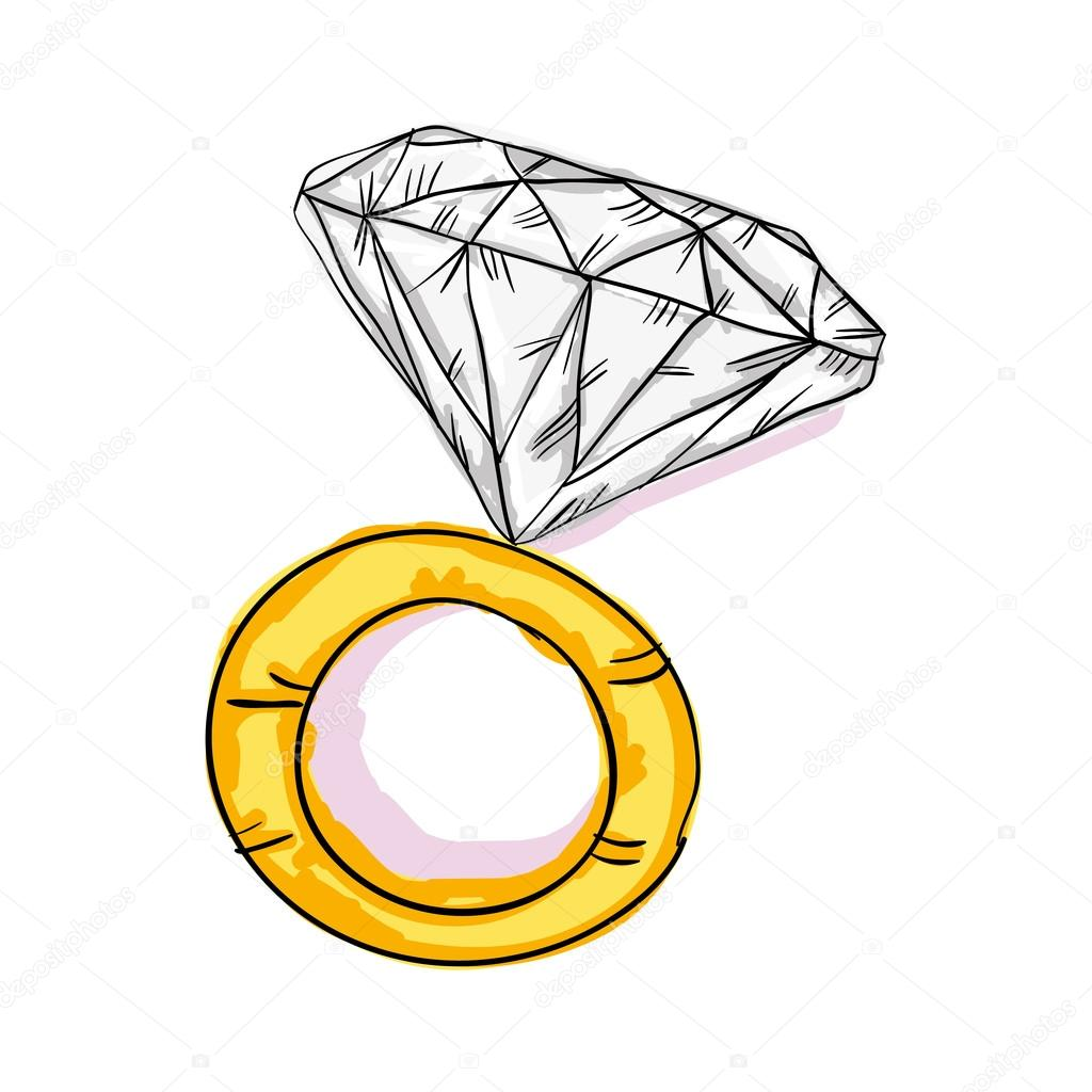 engagement gold ring � stock vector 169 yupiramos 123744532