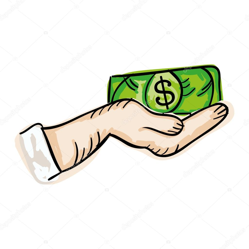 Hand Halten Geld Rechnung Stockvektor Yupiramos 123746782